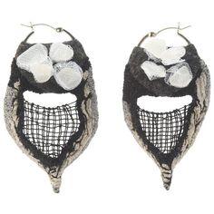Small Hoop Earrings With Black Grid Stitched On Lava Field ($379) ❤ liked on Polyvore featuring jewelry, earrings, dangle earrings, red, beach jewellery, dangle hoop earrings, beading earrings, red earrings and hoop earrings