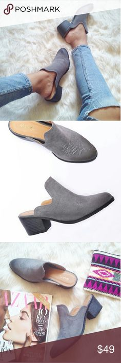 //The Janis// Grey Vegan leather Mules Trend Alert!! These adorable mules are going to be you're go to statement shoe this fall. They will pair well with almost everything in your closet such as cropped denim jeans and a slouchy knitted sweater or a cute winter boho chic dress. Bring out your inner bohemian girl out this fall/winter.  Brand new Never been worn Comes in original box No trades!! Price is firm!! Many more sizes available Shoes Mules & Clogs