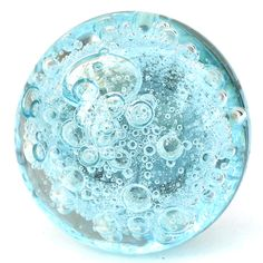 Aqua Blue Glass Bubble Cabinet Knobs Dresser Drawer Pulls Coastal ...