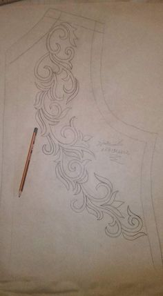 This Pin was discovered by Nai Embroidery Neck Designs, Hand Embroidery Dress, Floral Embroidery Patterns, Tambour Embroidery, Ribbon Embroidery, Beaded Embroidery, Embroidery Stitches, Peyote Stitch Tutorial, Flower Pattern Drawing