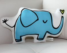 Blue Elephant Pillow by LittleKorboose on Etsy, $25.00