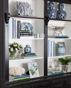 Library Bookcase Styling Shelfie Styling Blue and White Blue White and Green Interior Decorating Interior Styling Interior Design Hamptons Hamptons Style Decorating Bookshelves, Decorate Bookcase, Bookshelf Styling, Bookshelf Design, White Decor, Home And Living, Painted Furniture, Home Accessories, Living Room Decor