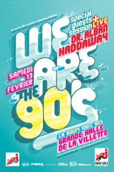 Illustration and typography posters for We are the event in Paris. 90s Design, Typo Design, Graphic Design Posters, Layout Design, Design Web, Typography Inspiration, Graphic Design Inspiration, Folders, Promotional Design