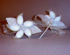 jordan almond flower favor gold white jordanalmondflowers