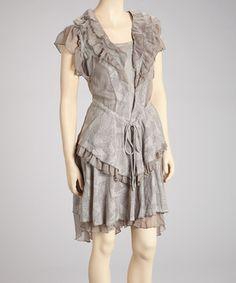 Love this Fantazia Gray Ruffle Sleeveless Dress - Women by Fantazia on #zulily! #zulilyfinds