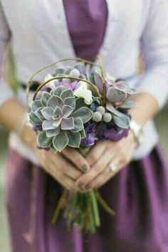 Bridesmaid's Bouquet Comprised Of: Lavender/Green/Gray Succulents, White & Purple Florals, Silver Brunia & Dried Vines^^^^