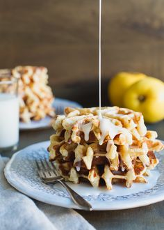 A recipe for Apple Stuffed Belgian Waffles. Treat yourself for breakfast. It's like apple fritters and Belgian waffles in one bite.