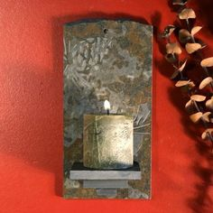 Real Slate Wall Candle Sconce: Pinecones on Copper Stone Slate Art, Slate Rock, Slate Stone, Hot Tub Room, Lodge Decor, Candle Wall Sconces, Pillar Candles, 3 D, Rustic