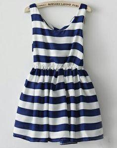 Blue White Stripe Sleeveless Ruffle Dress - Sheinside.com