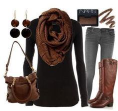 I love fall clothing. I want some nice brown boots & brown cross body bag.