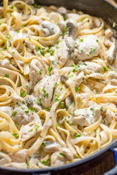 "Our usual recipe! Mom learned how to make this ""Pollo Chicken Fettuccine Alfredo"" in culinary school. She made this for us when we were kids and we were crazy about it. I've been making this Chicken Fettuccine Alfredo Creamy Shrimp Pasta, Fettuccine Pasta, Creamy Chicken, Fettucini Alfredo Chicken, Linguine, Chicken Fettucine Alfredo Recipe, Recipes With Fettuccine Noodles, Chicken Pasta, Healthy Lunches"