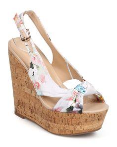 New-Women-Wild-Diva-Chic-126-Satin-Floral-Peep-Toe-Slingback-Cork-Wedge-Sandal