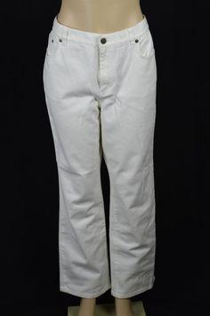 Lauren Jeans Ralph Lauren Womens 14 L29 White Colored Jeans NEW Classic Straight #LaurenRalphLauren #StraightLeg