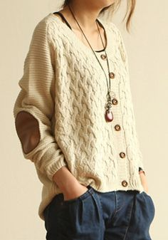 Beige Buttons Epaulet Long Sleeve Loose Acrylic Cardigan - Cardigans - Sweaters - Tops