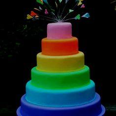 Glow in the Dark Cake Ideas | Glow in the dark layered cake