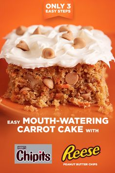 Easy Mouth-Watering Carrot Cake with REESE'S Peanut Butter Cups - Why bake a carrot cake when you can bake a carrot cake with REESE'S Peanut Butter Chips? The result is moist, crumbly and incredibly delicious. Slow Cooker Recipes Cheap, Slow Cooker Recipes Dessert, Dessert Recipes, Kraft Recipes, Drip Cakes, Baking Recipes, Cake Recipes, Soup Recipes, Recipies