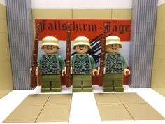 3x WWII LEGO German Fallschirmjäger's 1940 with STG44's and Stahlhelm helmets