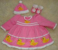 Ravelry: Duck Dress,Hat & Booties Knitting Pattern - Reborn /0-3/6/9/ Baby pattern by Blonde Moments