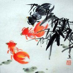 Oriental Asian Chinese Painting Feng Shui Art-Three Happy Goldfish&Bamboo c32 #Asian