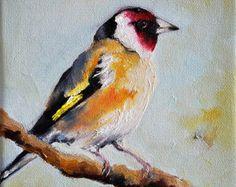 Impressionist Oil Painting Bluebird American by ArtCornerShop