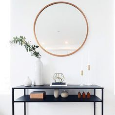 I have a thing for oversized, round mirrors. Hall Mirrors, Entryway Mirror, Round Mirrors, Entryway Decor, Entryway Table Modern, Entryway Tables, Hallway Decorating, Interior Decorating, Interior Design