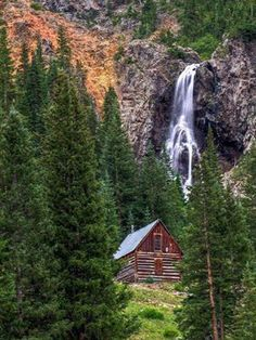 This cabin and waterfall are located between Silverton and Animas Forks (a ghost town) in Colorado. There are a number of old mines located close to this, and it looks like the cabin might have been built for the miners. This whole area has some incredible mining history and is very scenic.