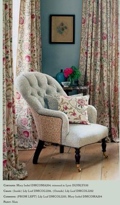 William Morris V fabric. Love the dual fabric use on the chair. Living Room, Furniture, Room, House, Interior, Home, William Morris, Chaise Lounge, Lounge