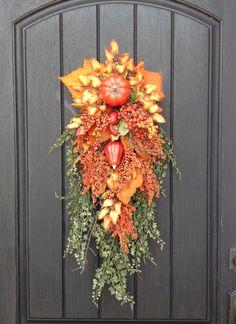 Fall Wreath-Thanksgiving-Autumn-Teardrop Vertical Door Swag Decor-Orange Pumpkins-Gourds-Berries-Indoor/Outdoor-Wispy Artificial Florals by AnExtraordinaryGift on Etsy