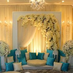 61 Ideas wedding backdrop indian stage decorations for 2019 Blue Wedding Centerpieces, Wedding Reception Decorations, Wedding Themes, Wedding Designs, Wedding Colors, Wedding Ideas, Wedding Blue, Wedding Flowers, Malay Wedding