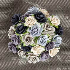 """Items similar to NEW: Prima Mini Sachet """"Winter"""" Monochrome Shades Flowers 565992 Mini Mulberry Paper Roses Bud in wire embellishments decoration Wedding on Etsy Online Craft Store, Craft Stores, Fabric Crafts, Paper Crafts, Shade Flowers, Prima Marketing, Etsy Crafts, Joann Fabrics, Paper Flowers"""