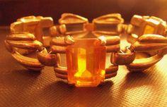 VINTAGE 1940'S 50'S CHUNKY LINK CITRINE GLASS BRACELET UNSIGNED #UNBRANDED #CHUNKYLINK