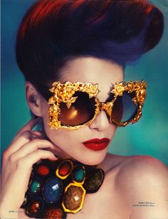Irina Vodolazova wearing golden blossom sunglasses by Mercura NYC (designed by Rachel Cohen-Lunning and Merrilee Lichtenstein Cohen). Photographed by Julia Pogodina - Carefully selected by GORGONIA www.gorgonia.it