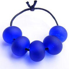 Handmade recycled lampwork glass beads 5 bead set made from a cobalt blue Harveys Bristol Cream sherry bottle