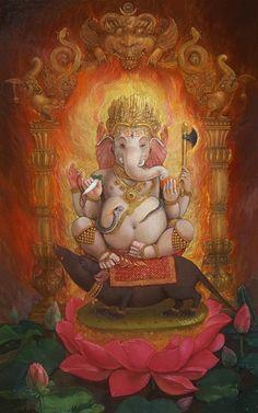 Ganesha, newari paubha by Dinesh Srestha