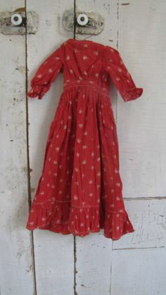 Small Red Christmas 19th C Early Old Antique Calico Doll Textile Dress
