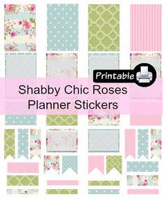 Shabby Chic Roses PDF PRINTABLE Planner Stickers for Happy Planner, Erin Condren Planner, Filofax, Plum Paper Decorating Kit by WhimsicalWende on Etsy