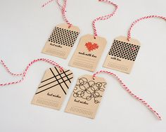 A set of 5 Beautiful gift tags. One is hand embroidered. Always good to have at home. To give with love.