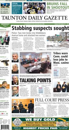 The front page of the Taunton Daily Gazette for Wednesday, March 18, 2015.