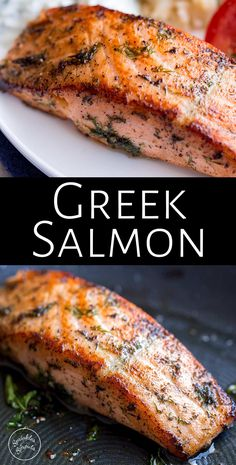 This delicious and easy Greek Salmon is the perfect quick healthy dinner for the whole family. The marinade is a simple mix of olive oil, lemon, dill, and oregano. The fish is pan-fried, giving it a wonderfully crisp exterior and meltingly tender and succulent center. Perfect for serving with orzo and a Greek salad. Transport your self to Greece with the traditional and authentic recipe for Greek Salmon! Salmon Dishes, Seafood Dishes, Seafood Recipes, Cooking Recipes, Dill Recipes, Greek Food Recipes, Salmon Food, Salmon Salad, Gastronomia