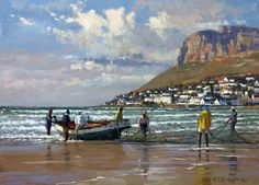 Roelof Rossouw: Wow, very nice! The kind of painting that I look for. Note by Roger Carrier Watercolor Landscape, Landscape Art, Landscape Paintings, Landscapes, Fishermans Cottage, African Paintings, Boat Art, South African Artists, Nautical Art