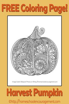 Harvest Pumpkin Coloring Page, Adult Coloring Page, Teen Coloring Page,  Fall, Autumn.