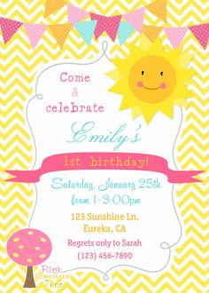You Are My Sunshine Birthday Party Invitation, Yellow Chevron, Customized Invite, Little Sunshine