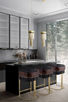 Today Inspiration & Ideas With Spring approaching, discover the new, unique Kitchen trends you can apply to your own home through the link in our bio. Luxury Home Decor, Luxury Interior Design, Home Decor Trends, Interior Design Inspiration, Home Decor Inspiration, Luxury Homes, Interior Colors, Interior Modern, Cheap Office Decor