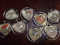 Lot of 8 Handcrafted Upcycled Key Chain Vintage Greeting Card Metal Trays Glass  #Handmade