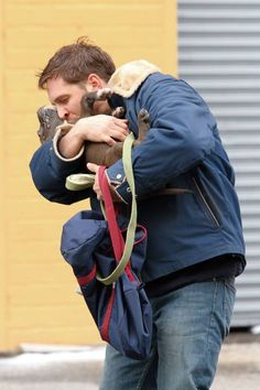 Tom Hardy spotted shooting scenes with a cute puppy for his upcoming movie 'Animal Rescue' in Brooklyn, NYC.Pictured: Tom HardyRef: SPL509299  110313  Picture by: Splash NewsSplash News and PicturesLos Angeles:	310-821-2666New York:	212-619-2666London:	870-934-2666photodesk@splashnews.com