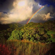 At the summit trail a double rainbow awaits! Discovered by Kaylee Anne at Manana trail, Pearl City, Oahu, #Hawaii