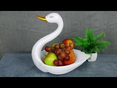 Swan fruit pot    Birthday gift showpiece making at home   Swan showpiece    সিমেন্ট দিয়ে ফলের ঝুড়ি - YouTube Cement Crafts, Clay Crafts, Biscuit, Diy Crafts For Home Decor, Polymer Clay Flowers, Craft Tutorials, Craft Ideas, Diy Christmas Gifts, Flower Arrangements