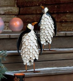 Metal Feathered Penguin Statues, Set of 2