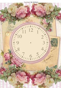 Clock, Postcards and Roses Decoupage Vintage, Vintage Postcards, Vintage Images, Vintage Scrapbook, Clock Face Printable, Victorian Valentines, Clock Art, Flower Backgrounds, Rose Design