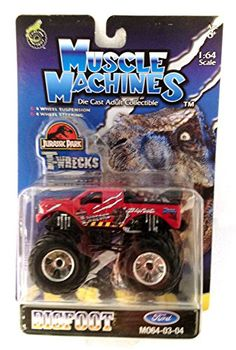 Muscle Machines Big Foot Die Cast Monster Truck RED T-Wrecks Jurassic Park 1:64 Scale | 2003 @ niftywarehouse.com #NiftyWarehouse #JurassicPark #Jurassic #Dinosaurs #Film #Dinosaur #Movies